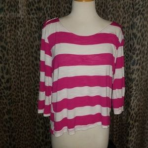 Pink and white striped shirt w gold #2